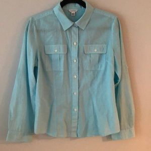 Light blue Button down with white buttons